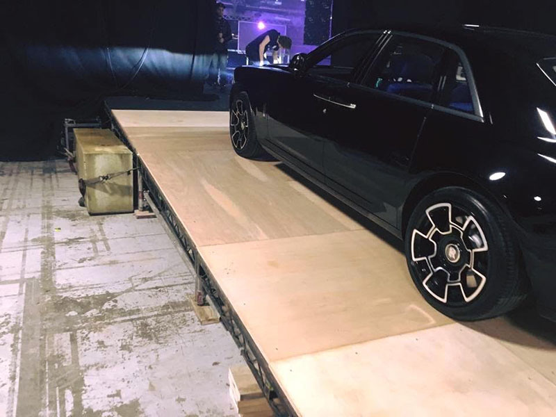 We built a stage structure that was used to drive a 2.6ton Rolls-Royce phantom on.