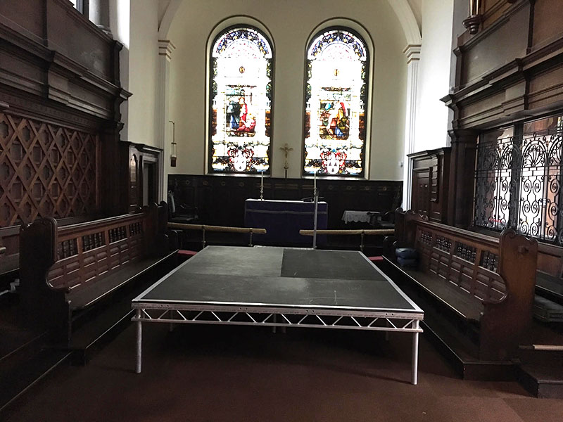 Portable stage in a church