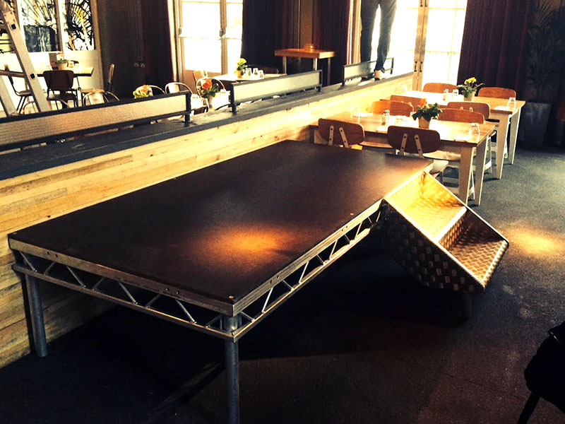 Stage in a restaurant